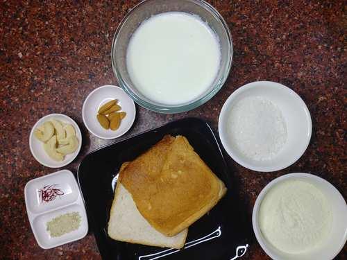 ingredients for bread kulfi